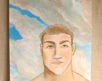Paintings of Men, Male Portrait Painting, Original Fine Art, Wil Shepherd Studio, 16 x 20,Handmade, Hand Painted, Gallery Wrapped Canvas