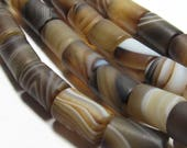 Agate Beads 12 X 8mm Natural Smooth Matte Marbled Chocolate Agate Smooth Barrel Beads - 15 Pieces