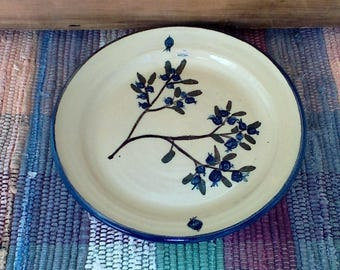 Handmade ceramic small serving plate painted in blueberry - kitchen - pottery dish - pottery dinner plate - rustic up north style - 618