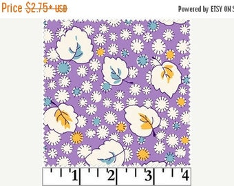 ON SALE White, Yellow and Teal Floral & Leaf Design on Purple 1930's Reproduction Fabric, Fresh Water Designs Kimberly's Garden FWDKIG02-Lil