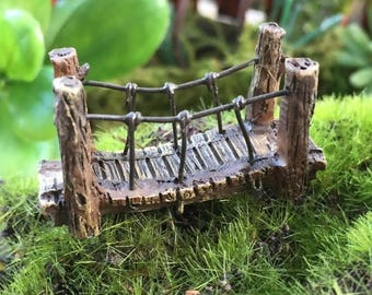4th SALE Micro Mini Fairy Garden Suspension Bridge,  Fairy Garden Accessory, Home & Garden Decor, Terrarium, Topper, Shelf Sitter, Enchanted