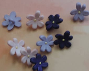 """SALE Violet Flower Buttons, Package Assortment """"Violets"""" by Buttons Galore Style 4260 Spring Collection, Sewing, Crafting, Shank Back Button"""