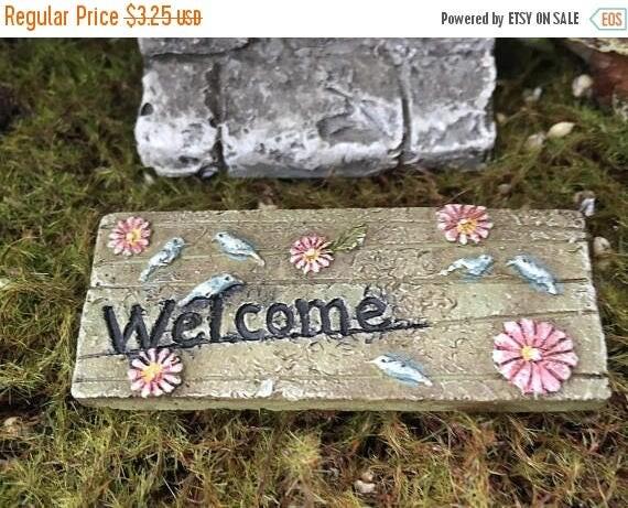 """SALE Mini Door Mat, """"Welcome"""" Fairy Door Mat With Birds and Flowers, Fairy Garden Accessory, Miniature Garden Decoration, Resin Mat"""