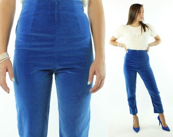 Vintage 50s Blue Velvet Cigarette Pants High Waisted Rise Pedal Pushers 1950s Small S Trousers Capri Pinup Rockabilly