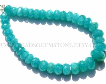 Supper Quality Amazonite Faceted Rondelle Semiprecious Gemstone beads, (Quality AAA), 18 cm, 7 to 9 mm, AM-071, Craft Supplies For jewelry