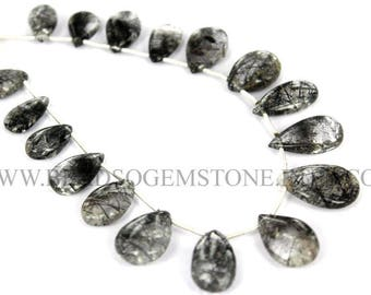 For Jewelry Making, Tourmalinated Quartz Smooth Pear (Quality B) / 7.50x11 to 11x17 / 18 cm / TO-040