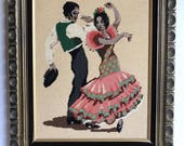 Vintage Large Framed Flamenco Dancers Needlepoint
