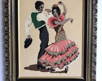 Vintage Large Framed Flamenco Dancers Needlepoint