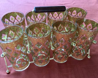 Vintage Culver Valencia High Ball Glass Tumblers Green & 22 Kt. Gold Set Of 8