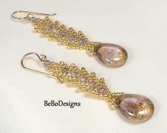 Czech Flat Pear Beaded Earrings-Bead Woven Earrings-Seed Bead Earrings-St Petersburg Stitch Earrings-Amethyst Luster Earrings