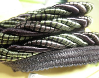"""Estate Notions --6  yds of PURPLE and SAGE Green Twist 1/2"""" SATINY   Lip Cord - has Sheen  - Unused."""