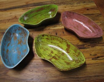 Hand painted recycled rescued wood serving catch all pods distressed blue pink green yellow storage
