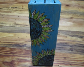 Upcycled recycled hand painted knife block sunflowers