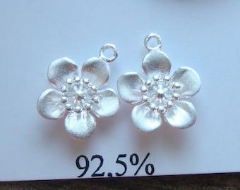 4 pcs, 10x12mm, Cherry Blossom Flower Charm, 925 Sterling Silver Lovely Sakura Flower Charm, PC-0023