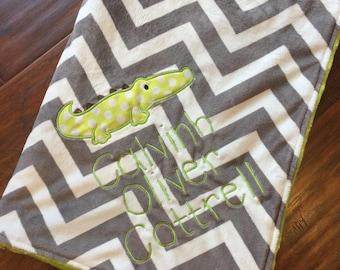 Alligator Baby Blanket-Personalized Baby Blanket- Nursery Blanket- Chevron Blanket