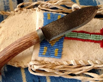 Native American Style Antler Neck Knife in a Brain Tanned Sheath with Antique Greasy Seed Beads