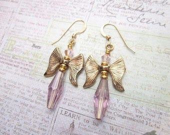 Pink & Gold Dangles -- Pink Charm Earrings -- Pink Bow Earrings -- Bow or Wing -- Bow Charm Earrings -- Pink Angel -- Gold Angel Jewelry