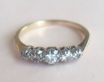 Antique Art Deco 18k Gold and Platinum Five Stone Diamond Band
