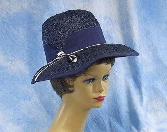 ON SALE Vintage Navy Wide Brim Straw Hat, Audrey Hepburn Breakfast at Tiffanys Style