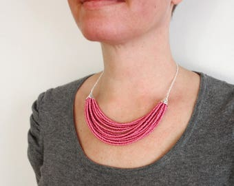Pink bib necklace pink statement necklace multi stranded seed bead necklace layered statement necklace for women
