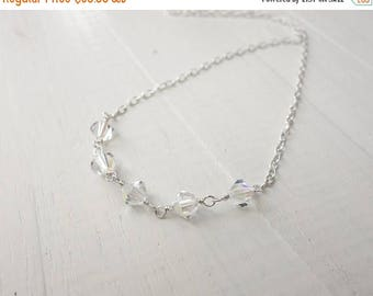 Summer Sale Minimalist silver necklace swarovski crystals necklace silver chain necklace sparkly