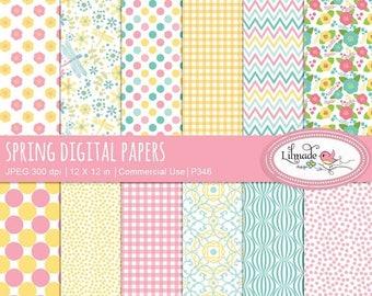 65%OFF SALE Spring digital paper,  spring colors digital paper, floral scrapbook papers, digital scrapbooking, patterns, P346