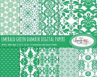 65%OFF SALE Emerald green damask digital papers, digital paper, damask digital paper, vintage digital paper, commercial use, P345