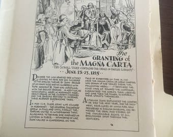 The Granting of the Magna Carta. 1933 book page history print illustration . Art frameable history