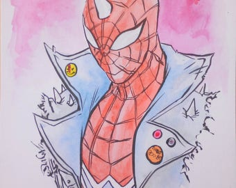 Punk Spiderman Watercolour Painting 14cm by 10cm by boo rudetoons comic art original avengers free shipping cartoon marvel gift birthday