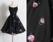 RESERVED /// Vintage 1950s Dress | vintage 50s hand painted dress | black organza floral print full skirt cocktail party dress | xs