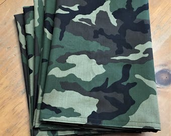 Green Camoflauge, Reusable Cloth Napkins Set of 5 Double Sided 100% Cotton Eco Friendly Large 20 x 20