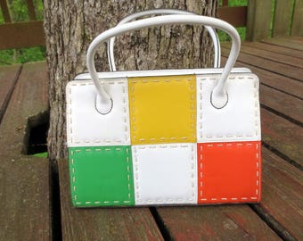 1960s Color Block Vintage Purse, Handbag, White, Yellow, Green, Orange