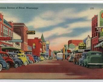 Street Scene Cars Business Section Biloxi Mississippi linen postcard