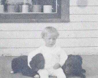 Postcard RPPC -  Dog Days of Summer w/ a Child