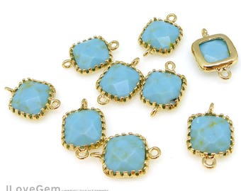 2pcs, P106 Gold, Turquoise, 9mm Glass Square, Framed Glass connector, Glass Pendant, December Birth stone