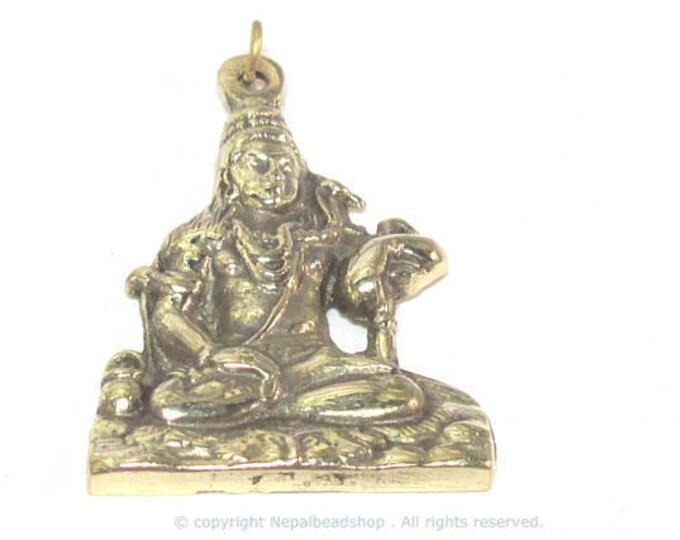 1 Pendant - Large size Hindu Lord Shiva Pashupatinath seated posture brass pendant from Nepal - CP128 custom design copyright Nepalbeadshop