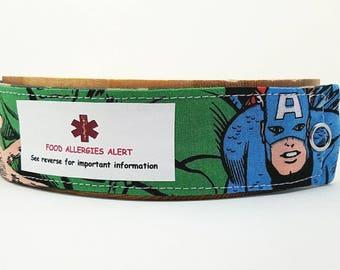 Captain America ID Bracelet Medical Alert Fabric Wristband