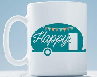 Happy Camper Coffee Mug ~ Vintage Trailer Mug ~ Caravan Camper Coffee Mug
