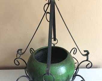 Mid Century Modern plant hanger w/ Mexican Signed Pottery