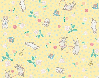 Yellow Bunnies Main from Bunnies & Blossoms by Lauren Nash for Penny Rose Fabrics