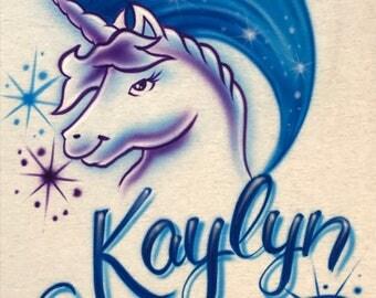 Personalized Airbrush Unicorn with Name T-Shirt Airbrushed Blue & Purple Mystical Horse Shirt