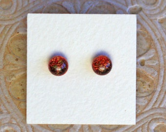 Dichroic Glass Earrings, Petite, Dark Red Candy  DGE-1230