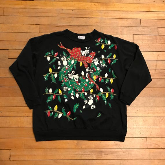 Kitty Cat Wreath Ugly Holiday Sweatshirt
