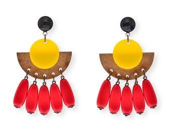 Bold Geometric Earrings, Wood and yellow Plastic Fan Earrings party earrings for her, tassel fan earrings statement jewelry