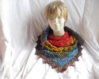 Crochet Scarf Shawl  Self striping yarn
