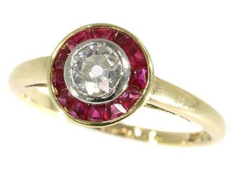 ON SALE Vintage Ruby Ring - Art Deco diamond and rubies engagement ring 0.25ct old brilliant cut diamond  18k yellow gold 1920s