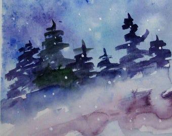 Winter Landscape 9x6 original watercolor painting Art by Delilah