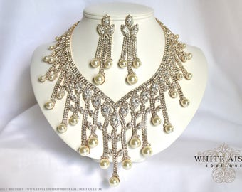 Ivory Pearl Crystal Bridal Jewelry Set Gold Wedding Statement Necklace Earrings Evening Prom Pageant Bib Pearl Drop Necklace