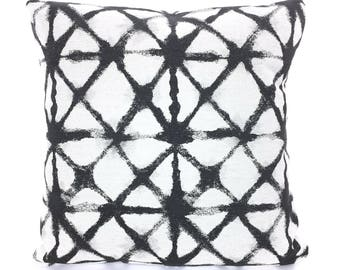 designer pillow covers charcoal black basketweave cushions geometric print modern shibori heavy weight flax sofa bed