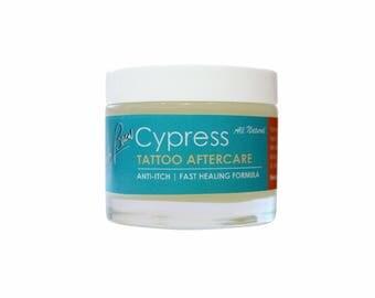 Beauty Brew Tattoo Aftercare Balm. Anti-itch & fast healing formula. W/ anti-inflammatory Cypress Oil.  Net Wt. 2.3 oz.